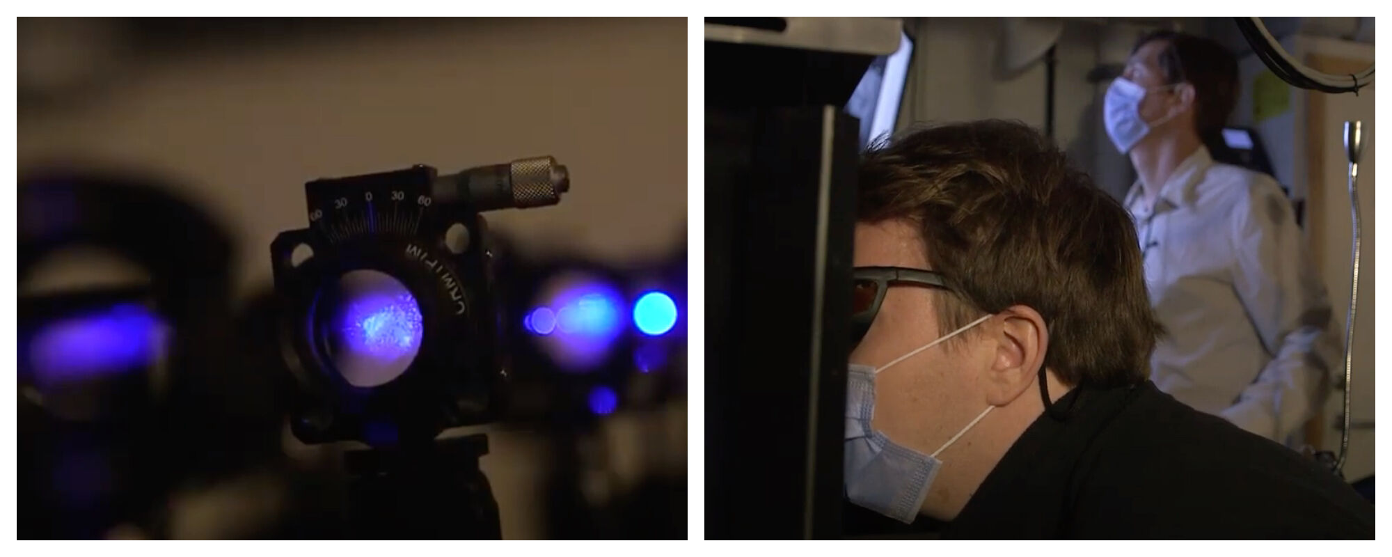 Two images. Close-up of a video camera. One man with face mask sitting in front of a machine, another man in front of a screen.